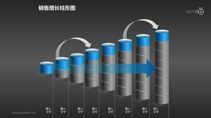 反映销售/经济等跳跃式增长的立体质感柱状图PPT素材(9)_幻灯片预览图2