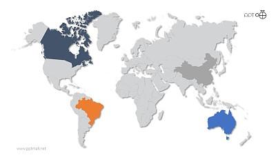 矢量世界地图PPT素材【每个国家可编辑】