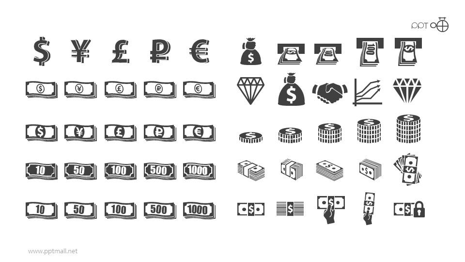 各种钞票钱币的矢量图标剪影素材