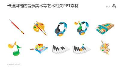 卡通风格的音乐美术等艺术类PPT图标素材