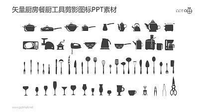 矢量厨房餐厨工具剪影图标PPT素材