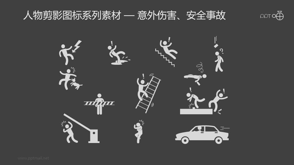 人物剪影图标系列素材-意外伤害、安全事故