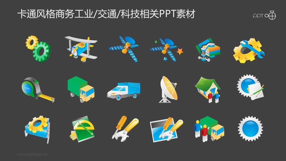 卡通风格的工业/交通/科技相关PPT素材