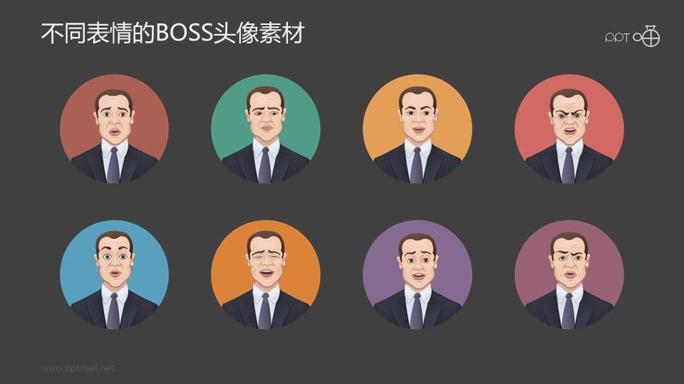 不同表情的BOSS半身像素材