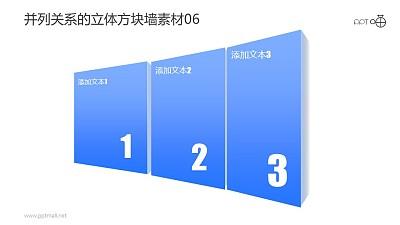 并列关系的立体方块墙PPT素材06
