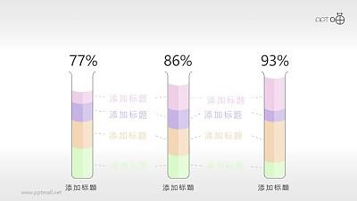 量筒柱状百分比统计PPT模板素材