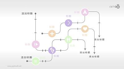 简洁电路式示意图PPT模板素材