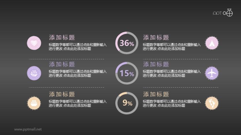 圆环百分比统计PPT模板素材