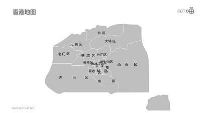 香港地图细分到区-可编辑的PPT素材模板