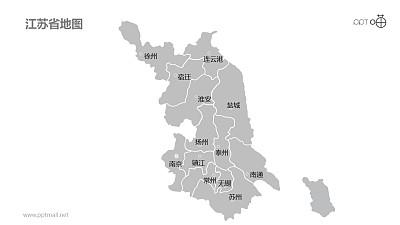 江苏省地图细分到市-可编辑的PPT素材模板