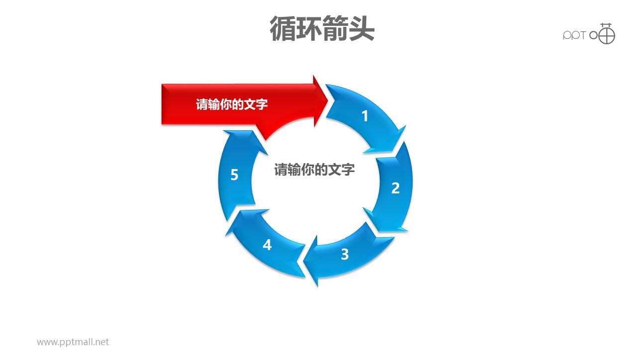 循环箭头之6部分箭头循环递进关系PPT模板素材