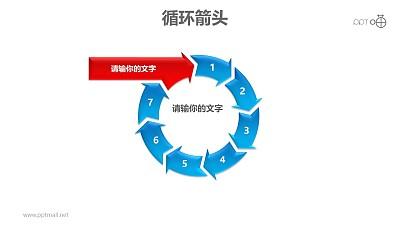 循环箭头之八箭头循环递进关系PPT模板素材