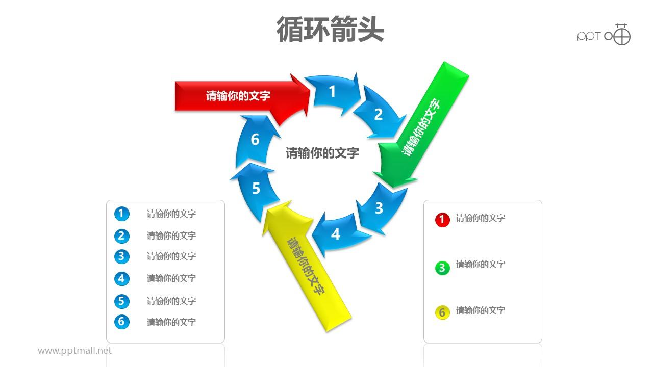 循环箭头之彩色箭头九箭齐发循环递进关系图PPT模板素材