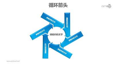 循环箭头之6部分旋转式箭头循环图PPT模板素材