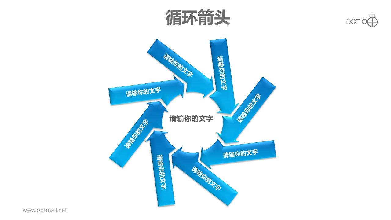 循环箭头之八部分旋转式箭头循环图PPT模板素材