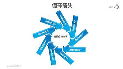 循环箭头之9部分旋转箭头循环图PPT模板素材