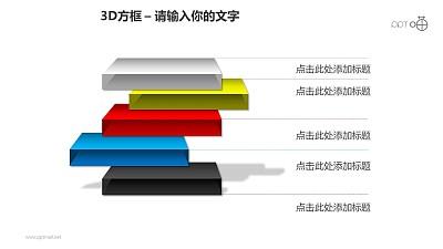 3D方框之5方框并列关系科幻风格PPT素材下载