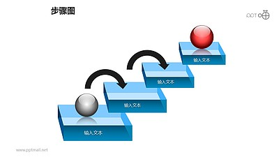 步骤图之4部分台阶式创意递进关系图PPT素材下载