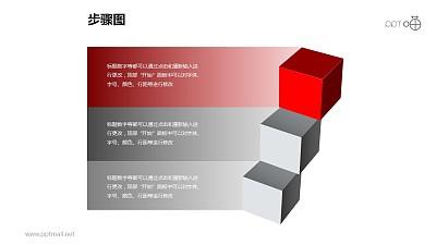 步骤图之3部分创意正方体递进关系图PPT素材下载