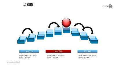 步骤图之红色小球悬浮方框递进关系图PPT素材下载