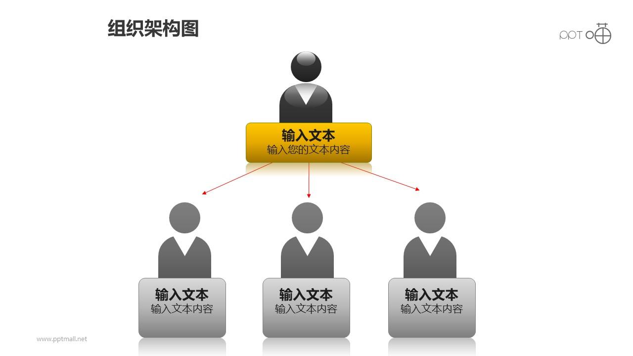 组织架构图之上下等级图形PPT素材下载