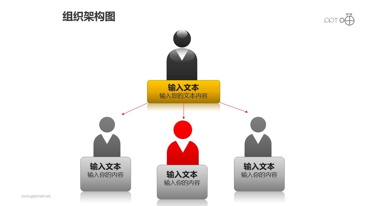 组织架构图之上下等级重点突出图形PPT素材下载