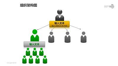 组织架构图之3层级上下等级图形PPT素材下载