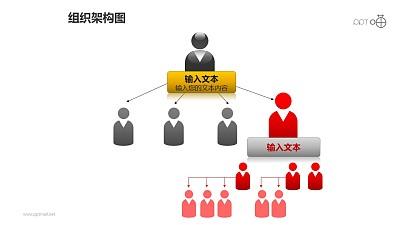 组织架构图之4层级红色上下等级图形PPT素材下载