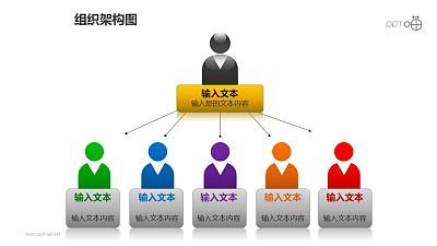 组织架构图之6部分多彩上下等级图形PPT素材下载