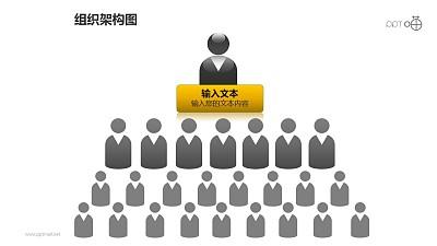 组织架构图之黑白灰4层级等级管理关系图形PPT素材下载