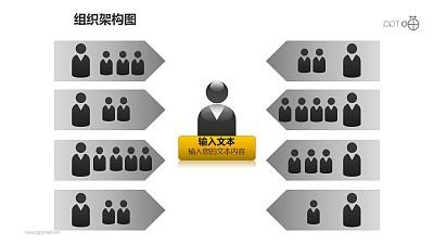 组织架构图之3层级左右排序等级管理关系图形PPT素材下载