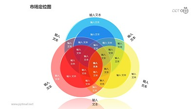 市场定位图之多重叠基础三色块图形PPT素材下载
