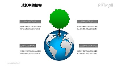 成长中的植物之地球上生长的大树图形素材下载