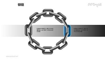 """锁链之2部分""""圆圈式""""链条递进关系图形素材下载"""