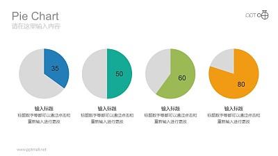 四个横向排列的彩色饼图数据分析对比图表PPT素材