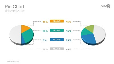 左右分布彩色动态饼图数据分析图表PPT模板