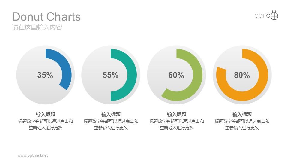 四个水平分布的彩色动态圆环图PPT模板下载