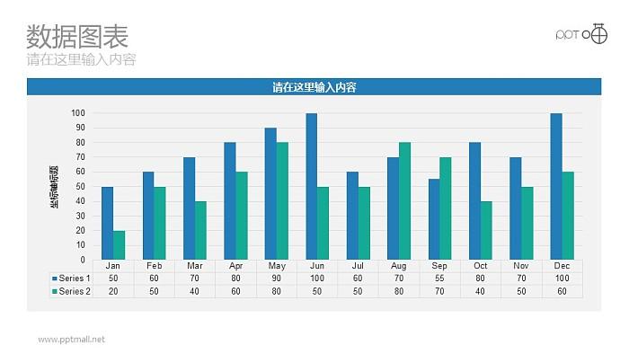 以月份为单位的清新蓝绿色条形图动态PPT图表_幻灯片预览图1