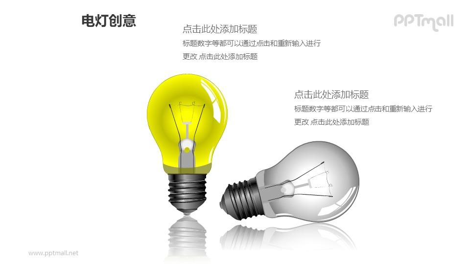 电灯创意—两个精美3D电灯泡PPT图形素材