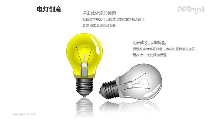 电灯创意—两个精美3D电灯泡PPT图形素材_幻灯片预览图1