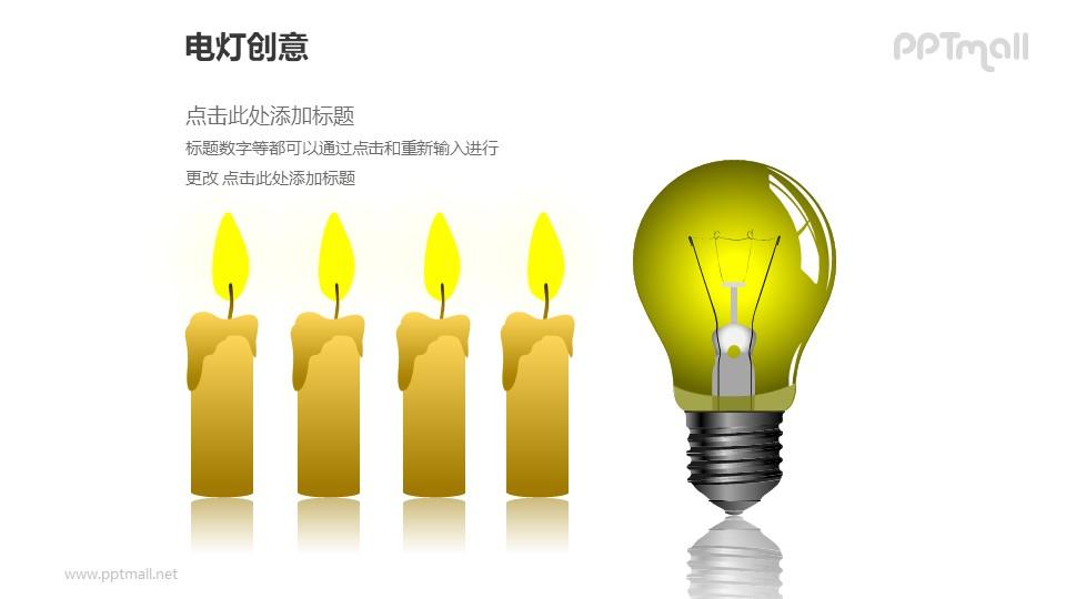电灯创意—电灯+四个并列蜡烛对比关系PPT图形