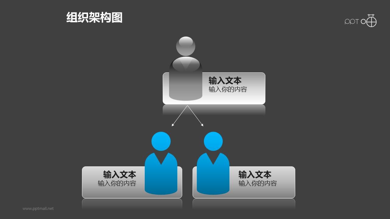 组织架构图之3部分等级图形PPT素材下载