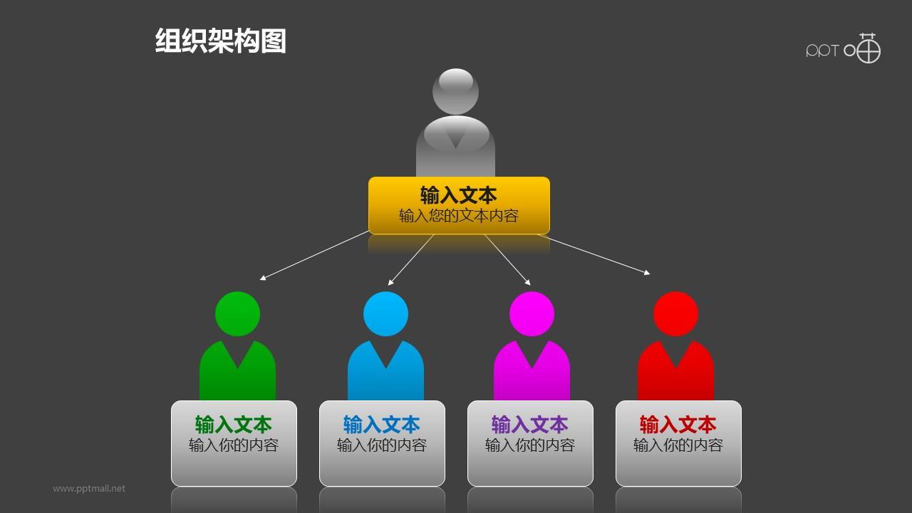 组织架构图之5部分多彩上下等级图形PPT素材下载