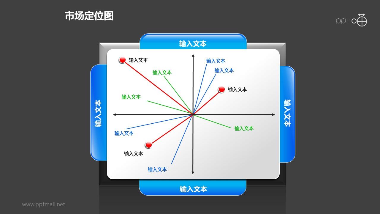 """市场定位图之""""放射型""""圆点位置分布图形PPT素材下载"""