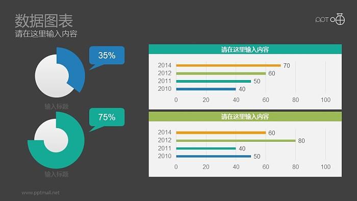 两组蓝绿色环形图数据对比分析PPT素材_幻灯片预览图2