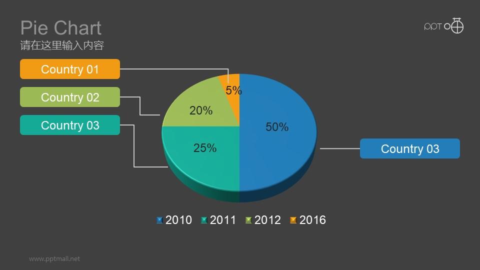 三维饼图四项数据PPT素材下载