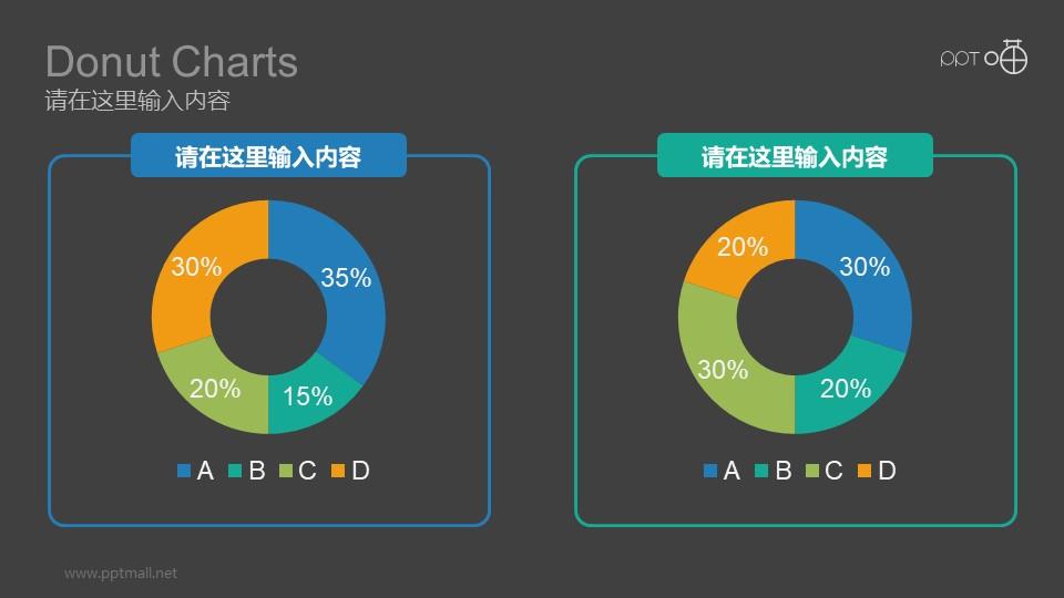 两组彩色动态环形图数据分析对比图表PPT模板