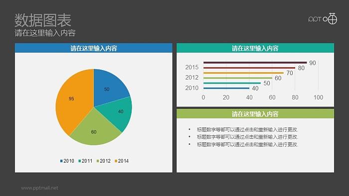 扁平化彩色动态饼图+条形图瀑PPT下载_幻灯片预览图2