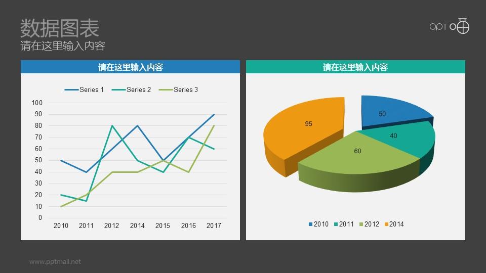 折线图+三维饼图彩色动态PPT模板下载_幻灯片预览图2