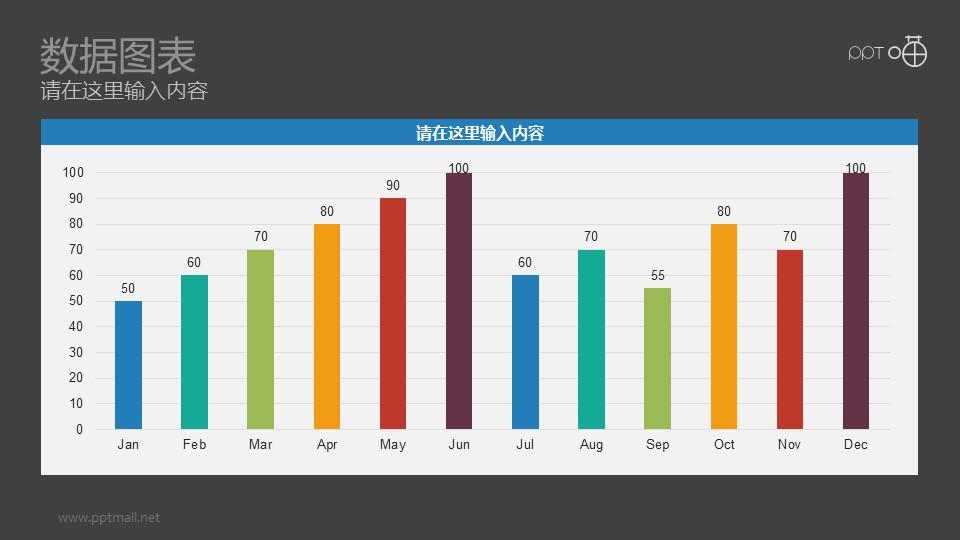 以月份为单位的彩色条形图扁平化动态PPT模板免费下载